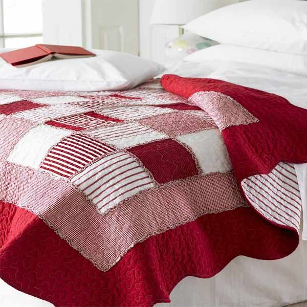 Sashi Bed Linen Orleans Gingham U0026 Stripe Patchwork 100% Cotton Quilted  Bedspread, ...