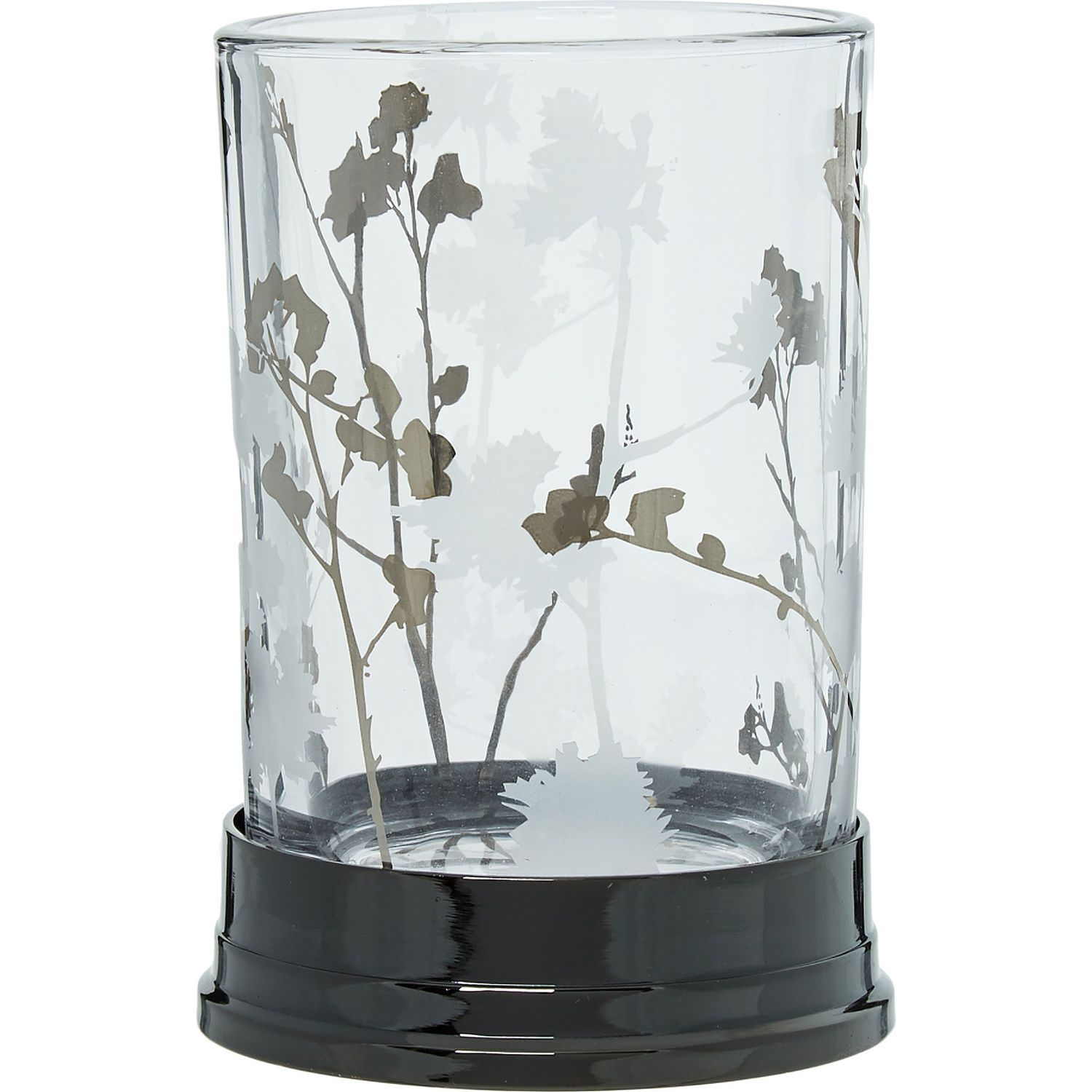 Gunmetal Floral Glass Toothbrush Holder - Bathroom Accessories - Bed ...