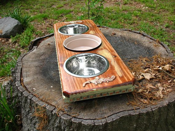 Elevated Pet Dog Bowl  Feeder Cats or by countrymanspetfeeder, $54.00