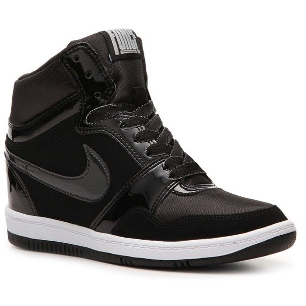 Nike Force Sky High Wedge Sneaker - Womens (5,665 INR) ❤ liked on Polyvore featuring shoes, sneakers, women, wedge sneaker shoes, nike, nike footwear, nike sneakers and nike trainers
