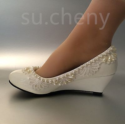 """d1b77a64853 2"""" heel wedges lace white light ivory pearl Wedding shoes Bridal low size  5-10.5"""