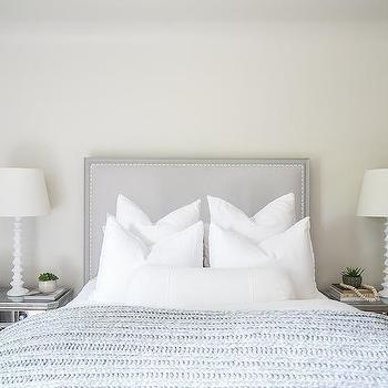 Light Gray Headboard With Borghese Nightstands Interior Design Inspiration Interior Design Grey Headboard