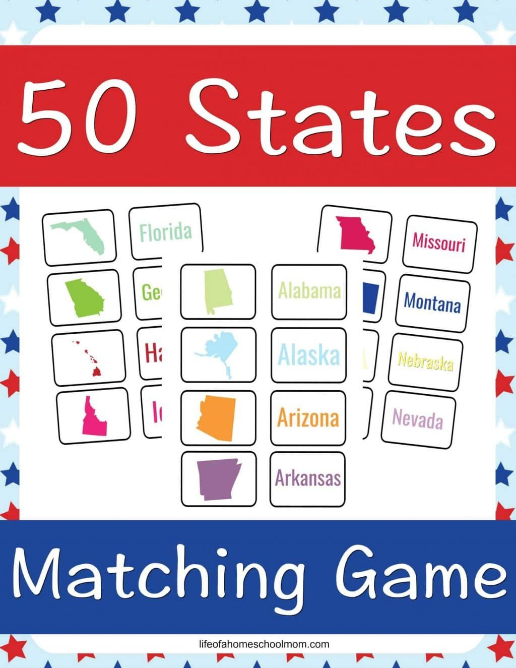 FREE 50 States Matching Game in 2020 Homeschool deals