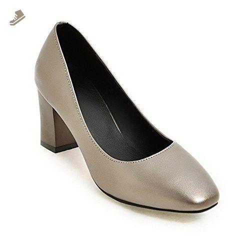 32ae3c2a946 BalaMasa Womens Square-Toe Chunky Heels Low-Cut Uppers Silver Urethane Pumps  Shoes - 4.5 B(M) US - Balamasa pumps for women ( Amazon Partner-Link)