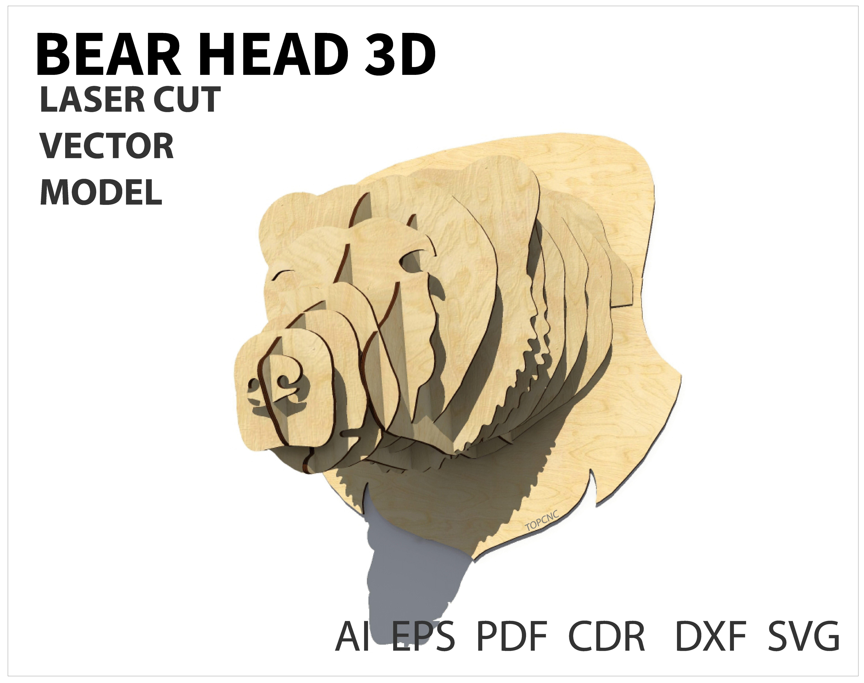 Bear trophy with 3D animal head wall decor - 3D Laser cutting ...