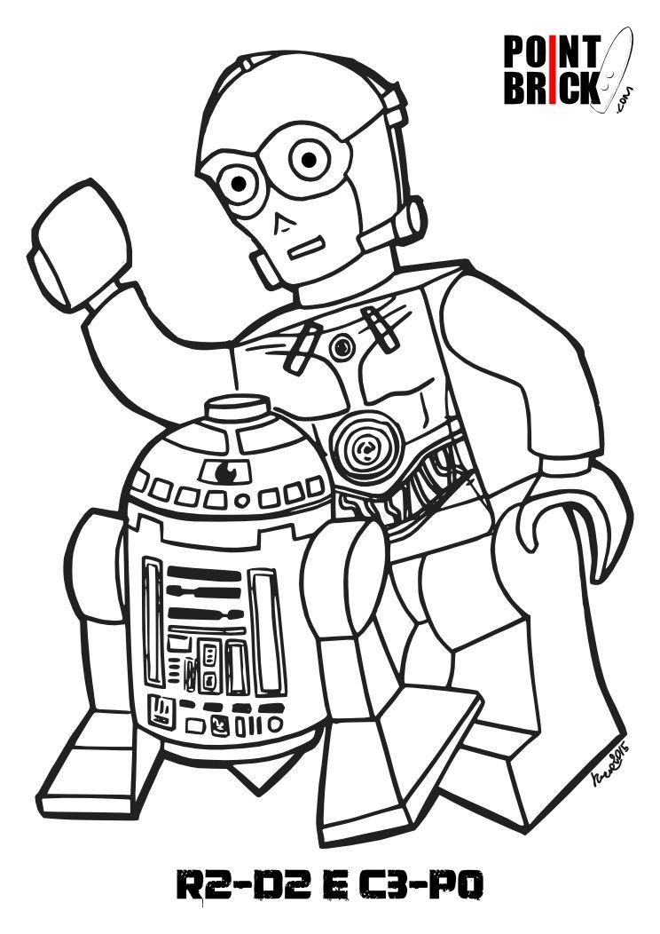 Disegno di LEGO R2D2 e C3PO da colorare Coloring Pages