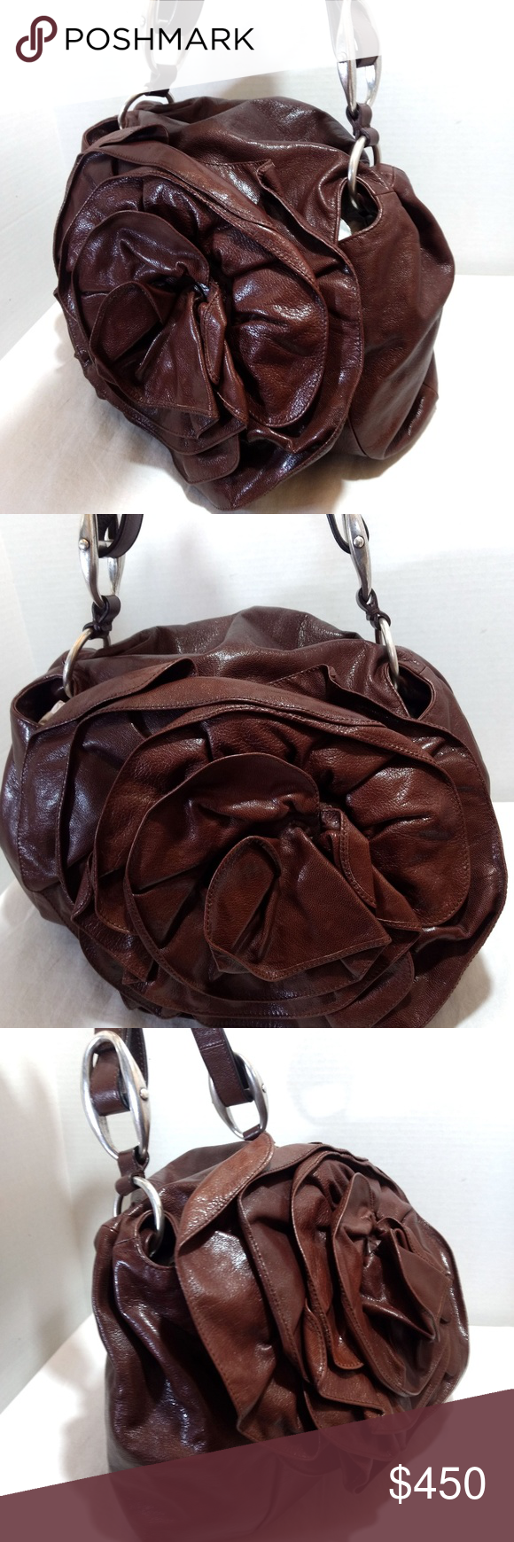 a4dc58fc16a4 YSL Yves Saint Laurent Brown Leather Flower Bag Gorgeous Authentic YSL Yves  Saint Laurent Brown Leather