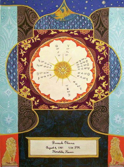 Custom Painted Chart For Barack Obama Astrology Pinterest