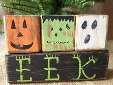 View Item: Primitive Pumpkin Monster Ghost EEK Halloween Shelf Sitter Wood Blocks