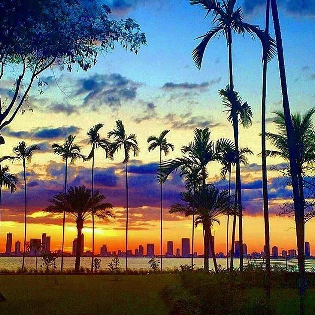 Gorgeous Sunset Over Miamis Skyline From South Pointe Park Miami Beach Captured Byfigman108