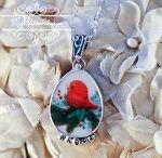 ♕ Sweet little redbird broken china jewelry necklace set in sterling, www.roseblossomcottage.com, $62.75