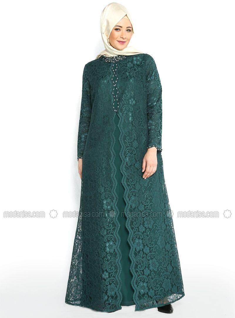 Uzeri Dantel Kaplamali Abiye Elbise Yesil Nurla Abiye Model Pakaian Pakaian Wanita Model Baju Wanita
