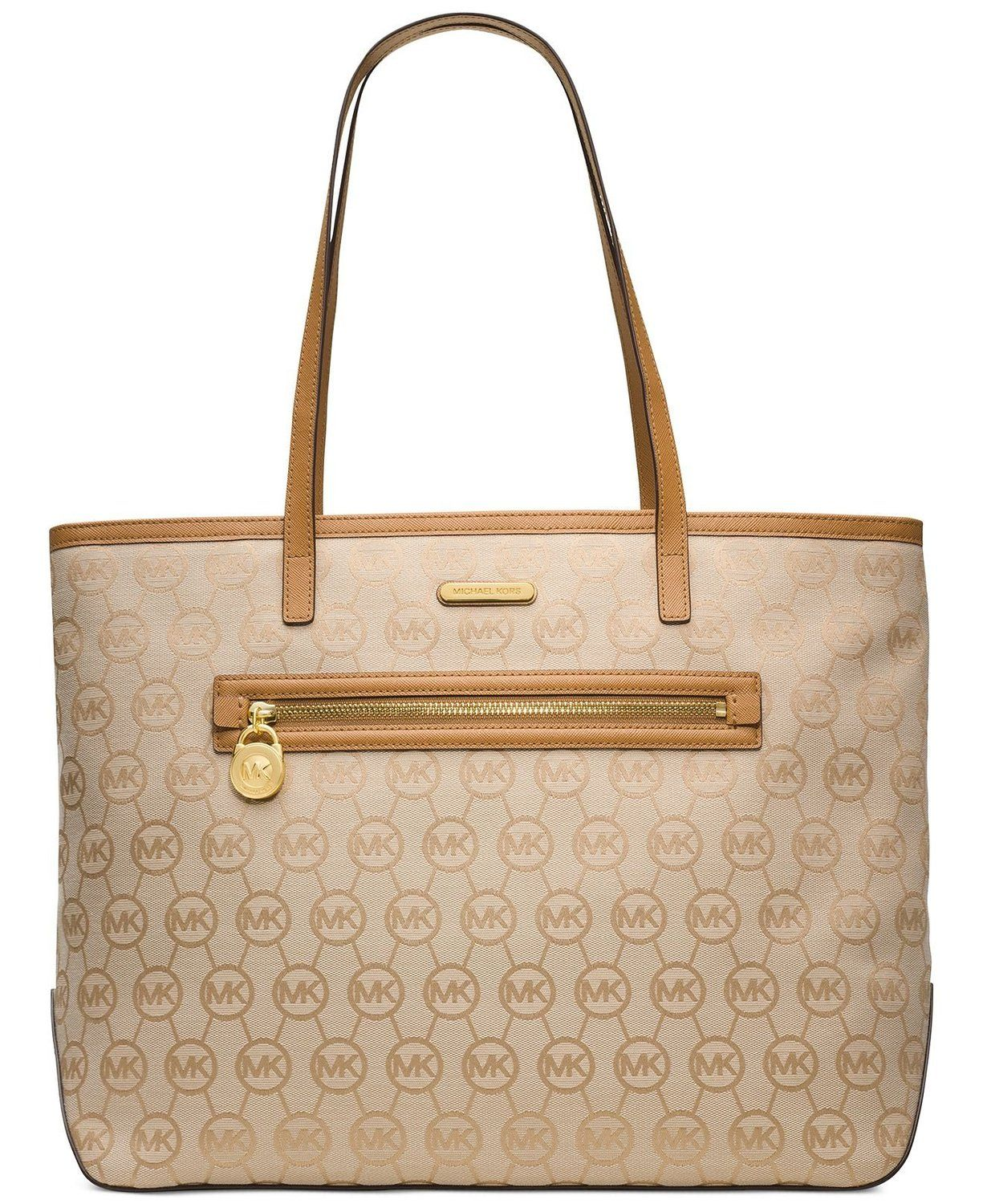 Top Handle Bags Michael Kors Signature Jet Set Large East West Tote In Beige Camel And Tan