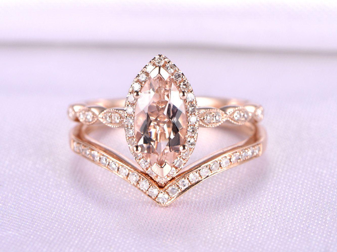 Morganite Ring Set Pink Morganite Engagement Ring 10x5mm Marquise ...
