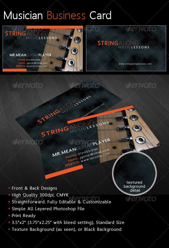 PSD Cool Musician Business Card Template O Only Available Here Graphicriver Item 1840243refpxcr