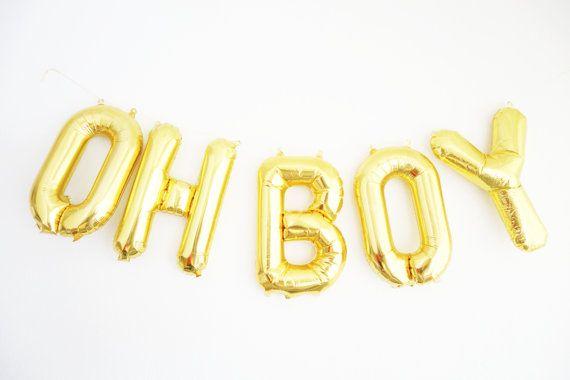 Oh Boy Balloons Gold Mylar Foil Letter Balloon Banner Kit Etsy Its A Boy Balloons Mylar Letter Balloons Letter Balloons