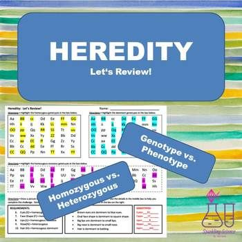 Heredity Review Worksheet | Smack Dab in the Middle | Worksheets ...
