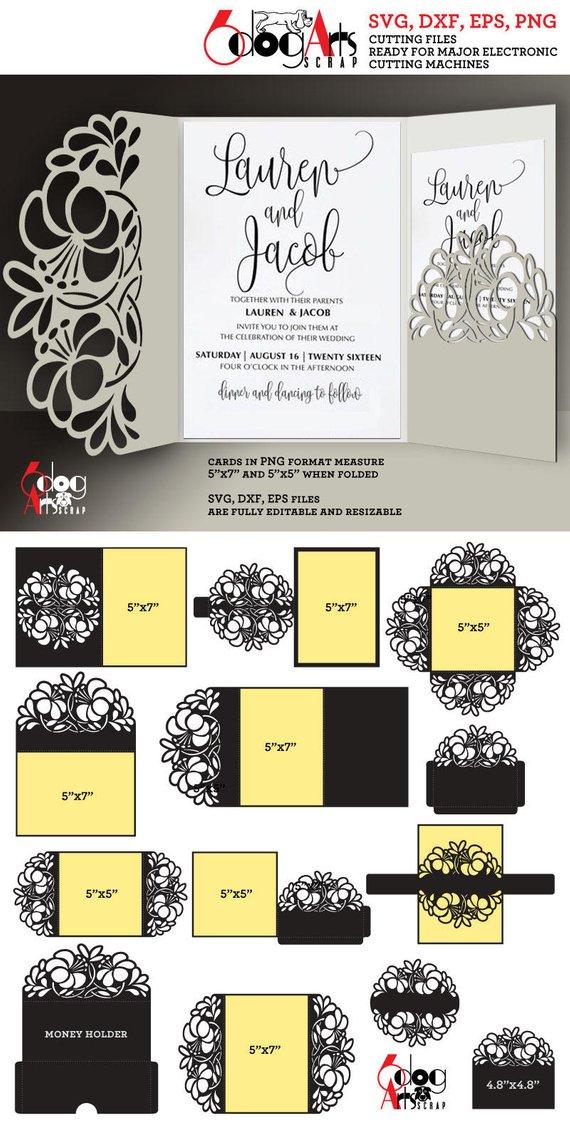 12 Floral Lace Envelope Card Templates Digital Cut Svg Dxf