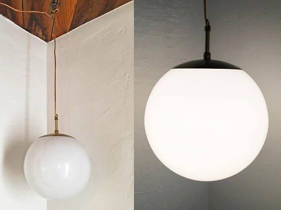 Vintage Mid Century Modern Globe Pendant Light White Gl