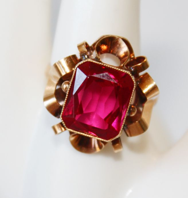 1880s Rubalite Tourmaline Victorian Ribbon Ring
