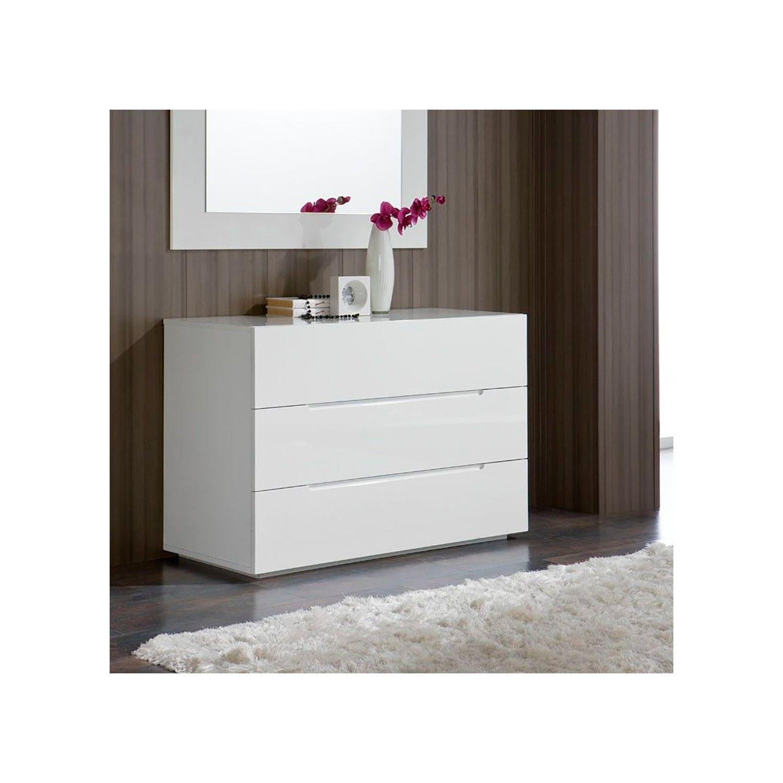 Comoda Moderna Blanca Con 3 Cajones Sin Tiradores Materiales Dm Lacado Blanco Brillo Dimensiones An Interior De Dormitorio Muebles Comodas Comoda Blanca
