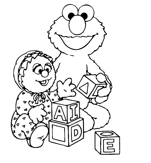 Elmo Was Playing A Funny Box Coloring Page - Elmo Coloring Pages ...