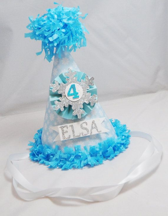 Frozen Inspired Birthday Party Hat by CardsandMoorebyTerri on Etsy, $17.00