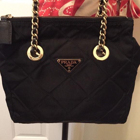Prada Bags - Prada Quilted Nylon Handbag w  Gold Chain Straps ... 7887e517aec62