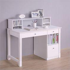 Walker Edison Wood Desk with Hutch in White