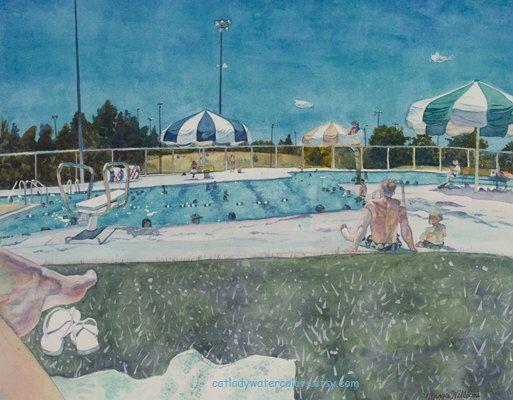 Leslie White Drawing Watercolor Painting Pool Umbrella