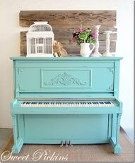 Painted piano; love the style of this one. But I'm thinking a more muted color, a couple of different trim color variations, and two different colored waxes....we shall see :)