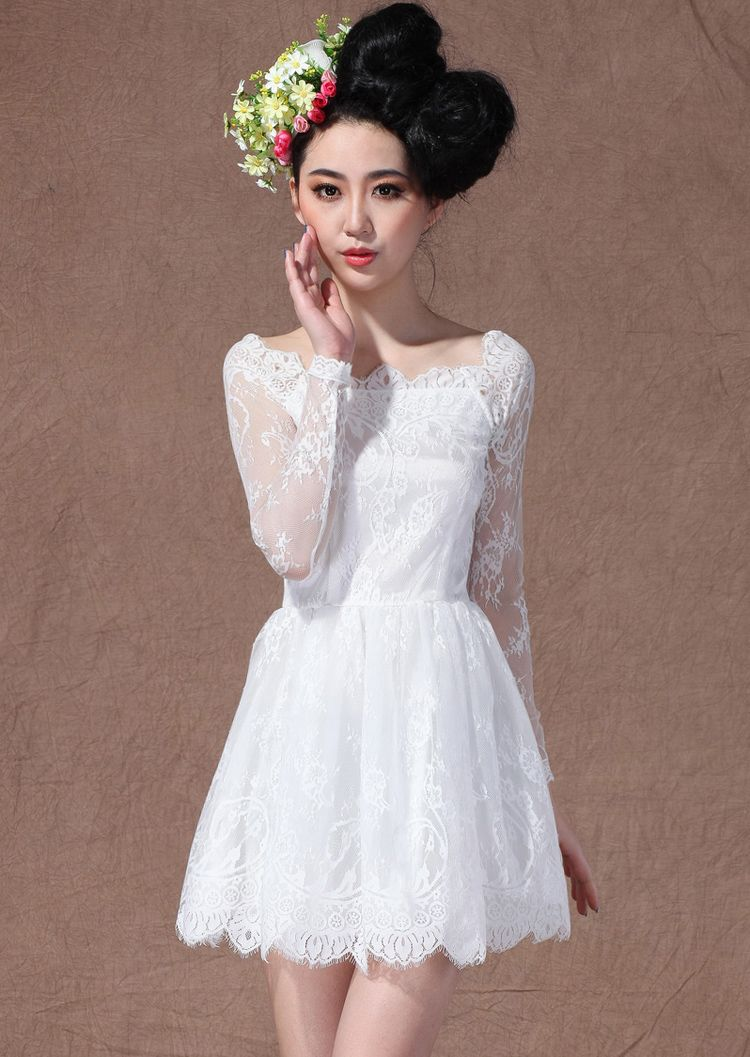White boat neck long sleeve overlay lace flare dress fashion
