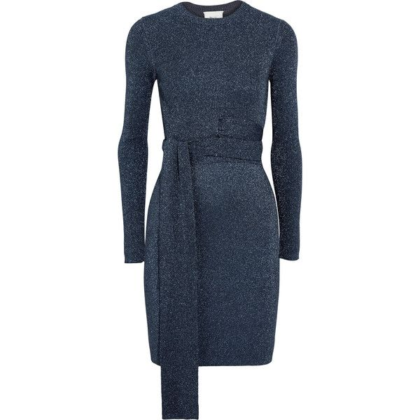 Twisted Metallic Ribbed-knit Dress - Navy 3.1 Phillip Lim Clearance Cheapest kDxcedcp