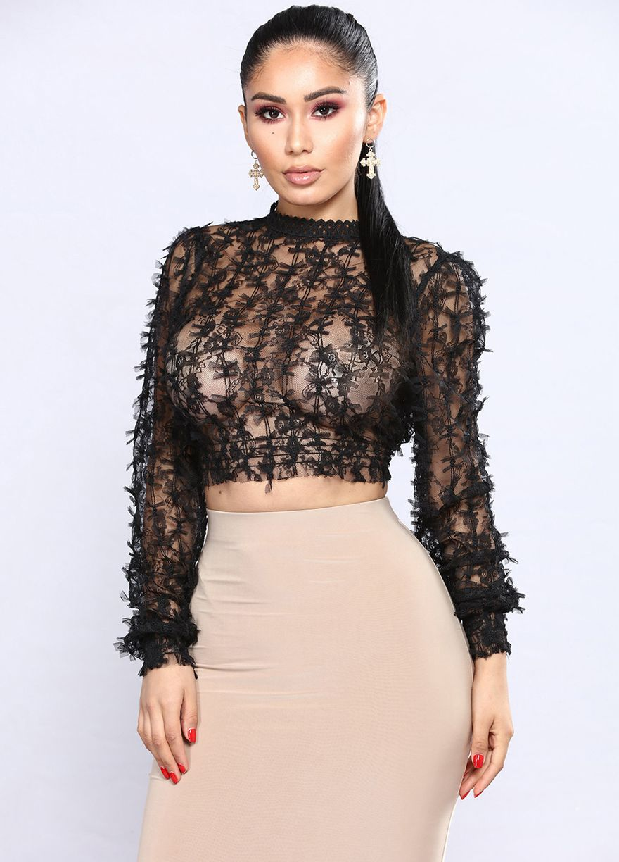 6a42ed676ac0c4 Long Sleeve Sheer Bowknot Mesh Crop Tops Crop Tops Clubwear Clothing Sexy  Lingeire