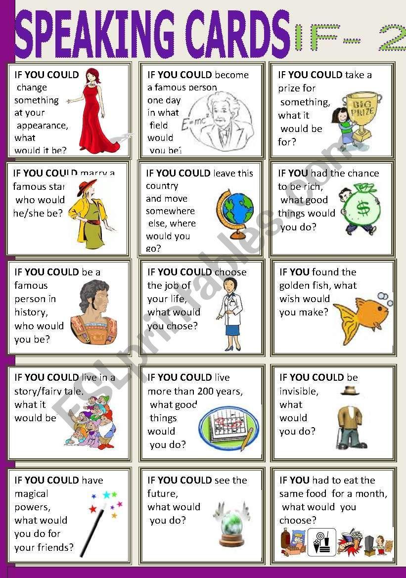Speaking Cards If 2 Worksheet English Teaching Materials Speaking Activities English English Speaking Practice [ 1169 x 821 Pixel ]