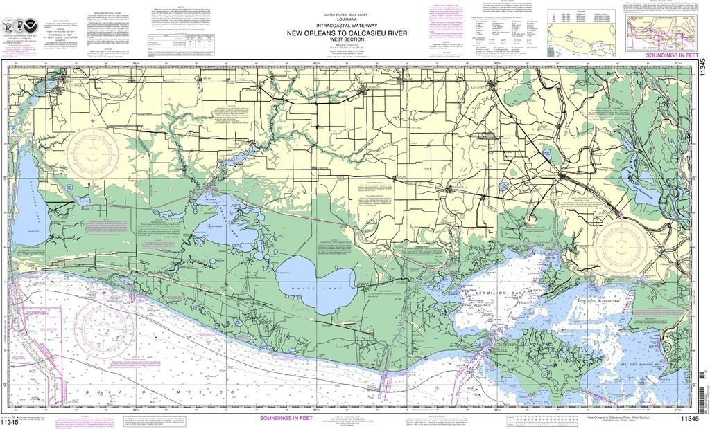 Noaa Nautical Chart 11345 Intracoastal Waterway New Orleans To Calcasieu River West Section Nautical Chart Nautical River