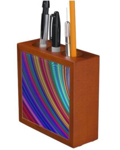 Spectrum Desk Organizers $30.90 *** Curved color spectrum stripes *** abstract - graphic - multicolor - digital - fractal - space - sky - color sky - curves - spectrum - colorful - colors - stripes - curved - concentric - arc - desk organizer