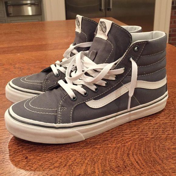 vans sk8 hi slim grey women 39 s size 8 5 shoes vans style. Black Bedroom Furniture Sets. Home Design Ideas