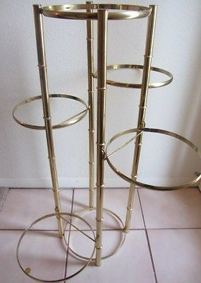Mid Century Bamboo Gold Brass Metal Display 5 Tier Plant Stand Holder Metal Plant Stand Metal Display Plant Stand