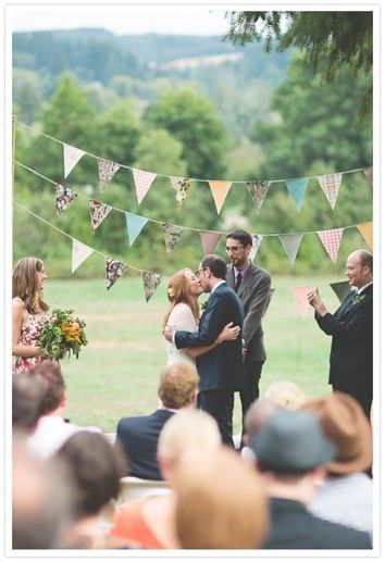 Bunting Wedding Inspiration. Easier to pack & ship than pinwheels. And I like the word bunting.