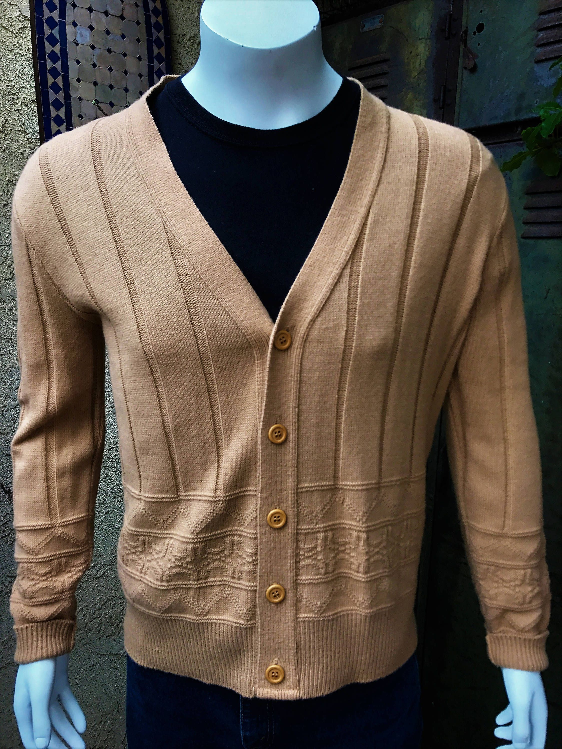 JANTZEN 1960s Beige Cable Knit Cardigan Men's Size Large/ Vintage ...