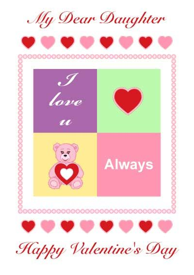 Printable Valentines Cards for daughter myfreeprintablecards – Free Happy Valentine Cards