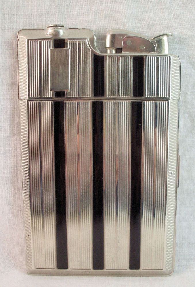 Art Deco Evans combo Cigarette Case and Lighter w Original Box & Protective Bag #ArtDeco #Evans
