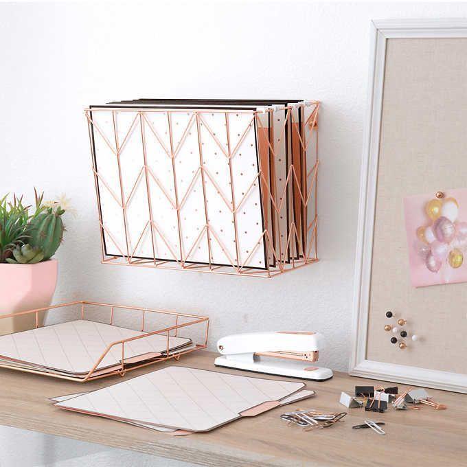 U Brands Rose Gold Desktop Filing Set