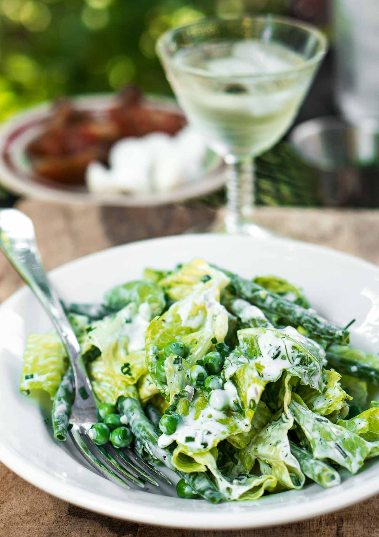 Green Salad With Peas Green Beans And Buttermilk Ranch Dressing Recipe Buttermilk Ranch Dressing Green Beans Food Recipes