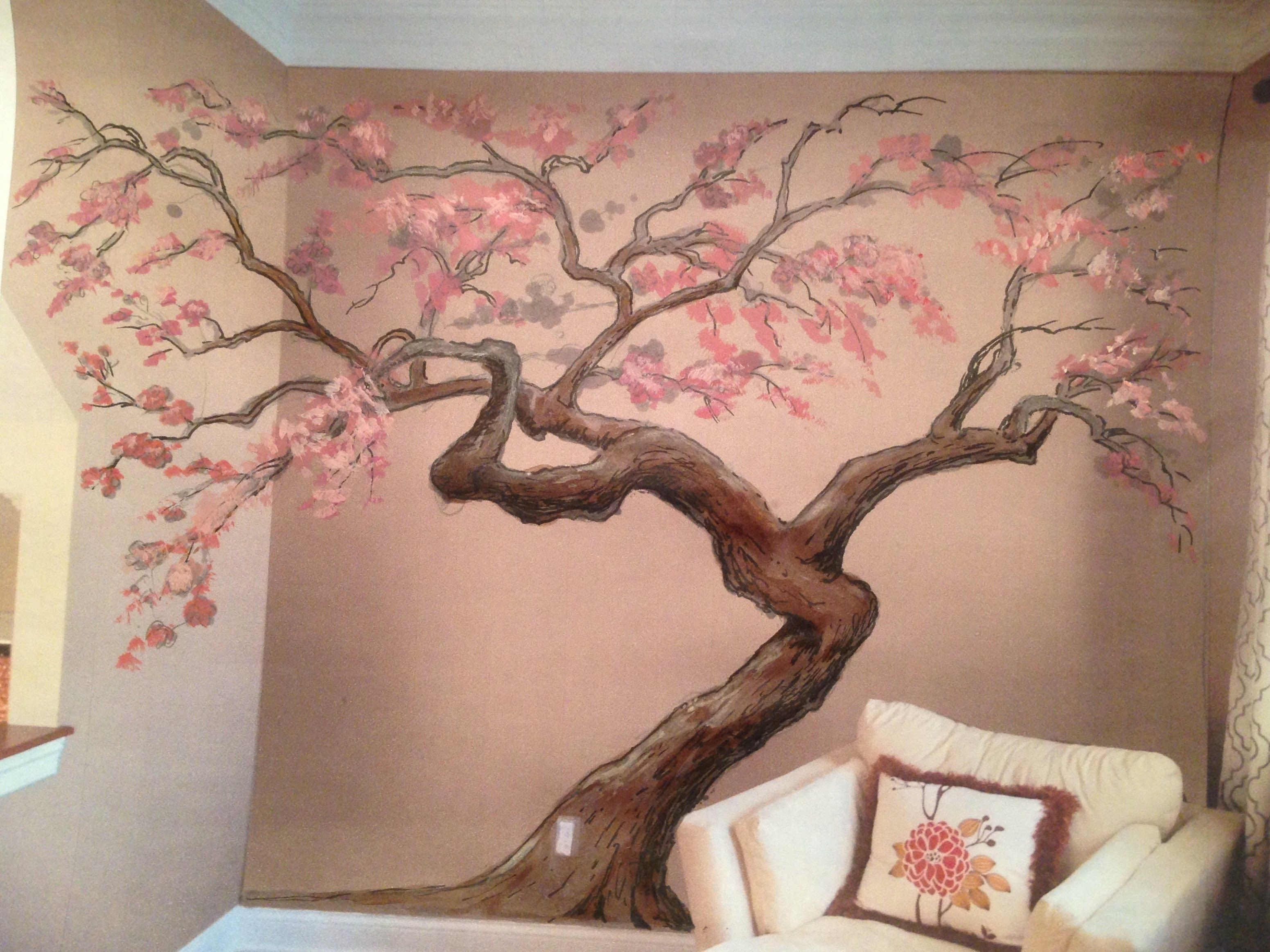 Cherry Blossom Tree Mural Time Lapse Artisan Rooms Cherry Blossom Wall Art Cherry Blossom Painting Tree Wall Painting