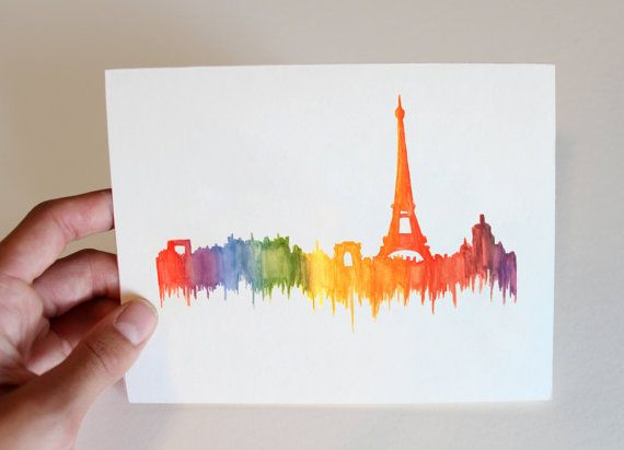 European Cities Notecardsoriginal Design Blank Cards Set Of Etsy Note Cards Cards City Silhouette