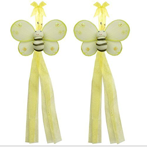 Bumblebee Curtain Tiebacks Yellow Hailey Nylon Bee Pair Set Decorations Window Treatment Holdback Sheer Drapes Holder Drapery Tie Back Decorate Baby Nursery Bedroom Girl Room Kid Decor Home Bathroom ** Check out this great product. (Note:Amazon affiliate link)