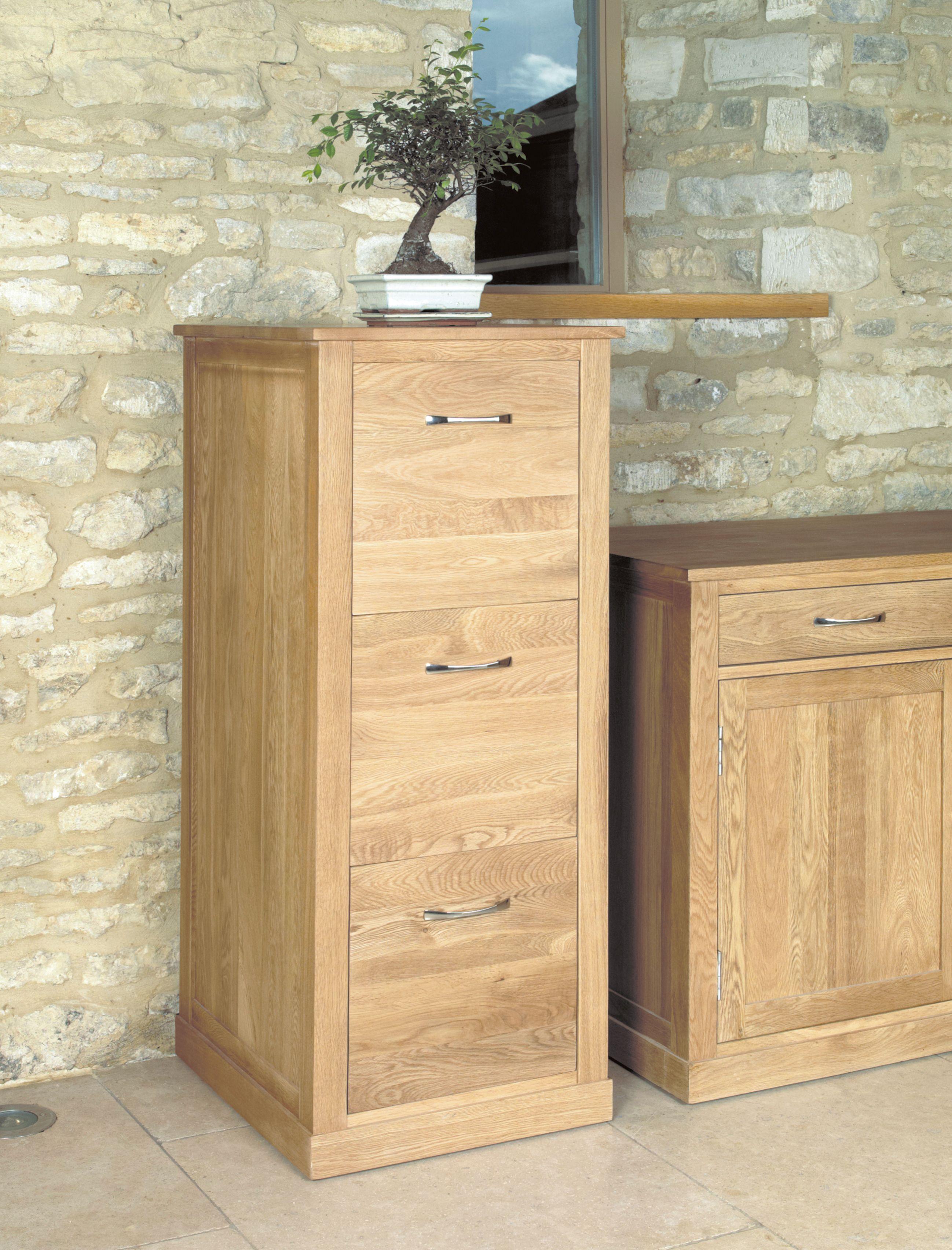 Baumhaus Mobel Oak 3 Drawer Filing Cabinet | Filing ...