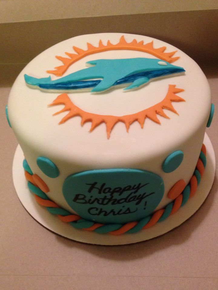 Miami Dolphin Cake With Images Miami Dolphins Cake Dolphin Birthday Cakes Dolphin Cakes